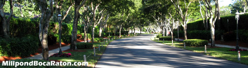 This beautiful tree-lined drive welcomes both you and your guests to Millpond in Boca Raton, Florida