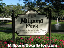 Sign denoting a lakeside park at Millpond in Boca Raton, FL
