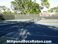 Enjoy an after-work tennis match here on Millpond's courts